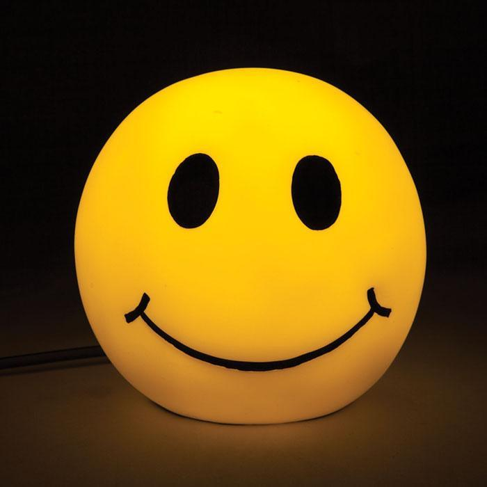 Smiley Face Table Lamp Yellow Emoji LED Night Light Soft Glow ...
