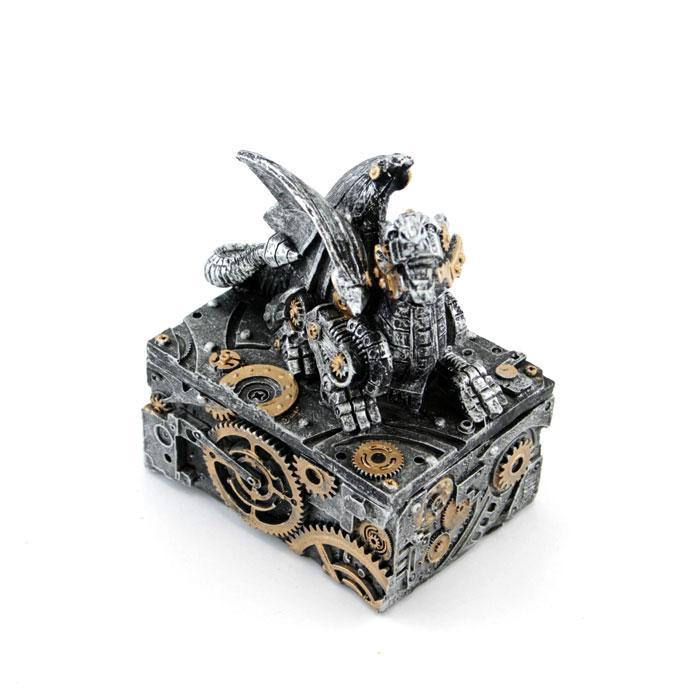 Steampunk Dragon Metal Trinket Box - - mdi - Yellow Octopus