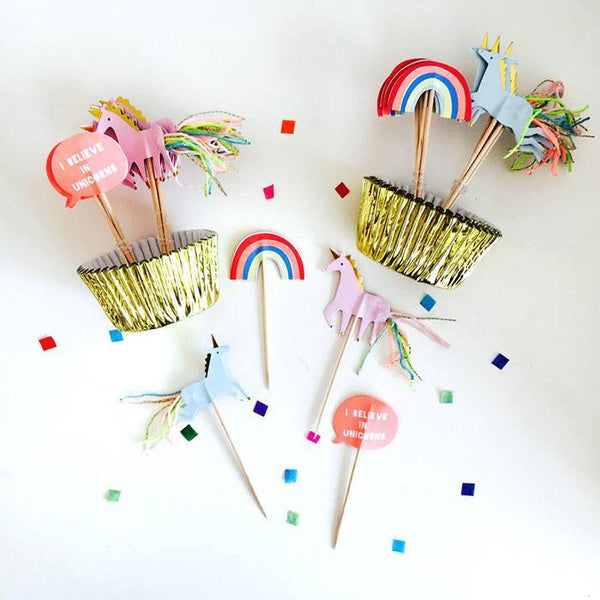 Cupcake kit unicorn cake toppers and cases birthday for Decor zippay