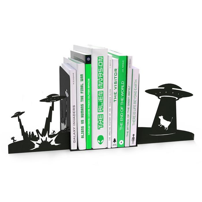 Mustard Alien Invasion Bookends