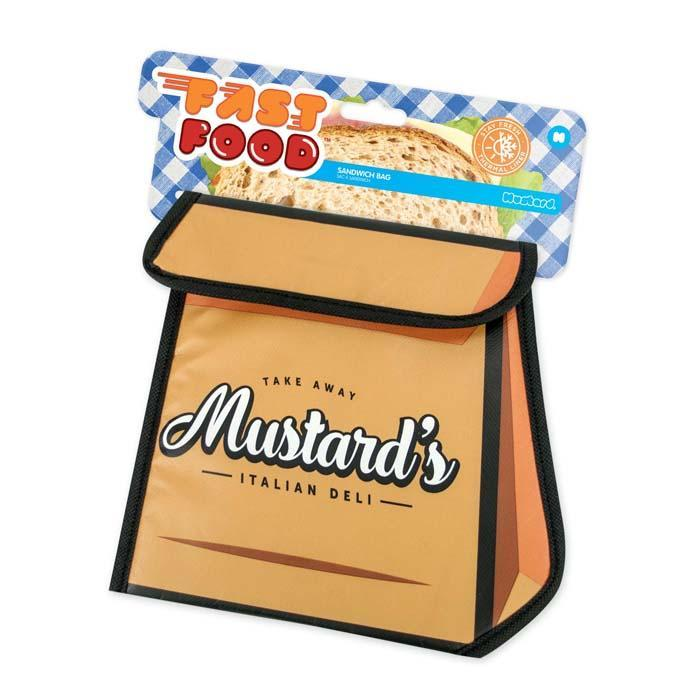 Fast Food Insulated & Reusable Sandwich Bags - Pizza Box - Mustard - Yellow Octopus