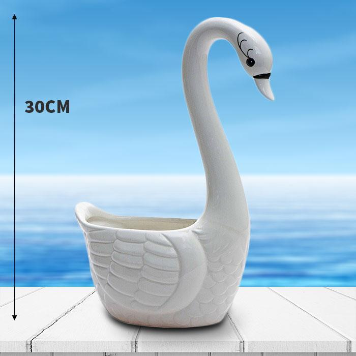 Large Swan Planter Pot - - Outliving - Yellow Octopus