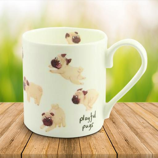 Playful Pugs Bone China Mug