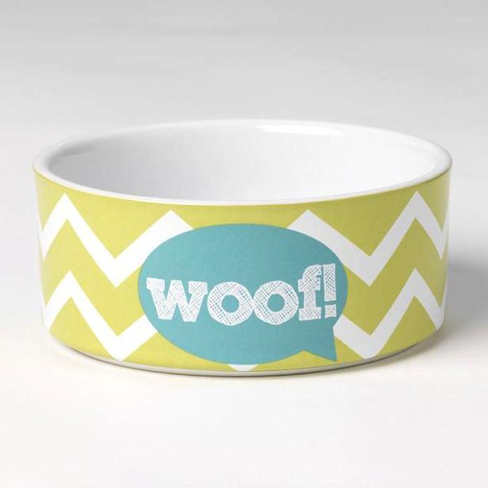 Woof! Ceramic Dog Bowl - 15cm - - PetRageous Designs - Yellow Octopus
