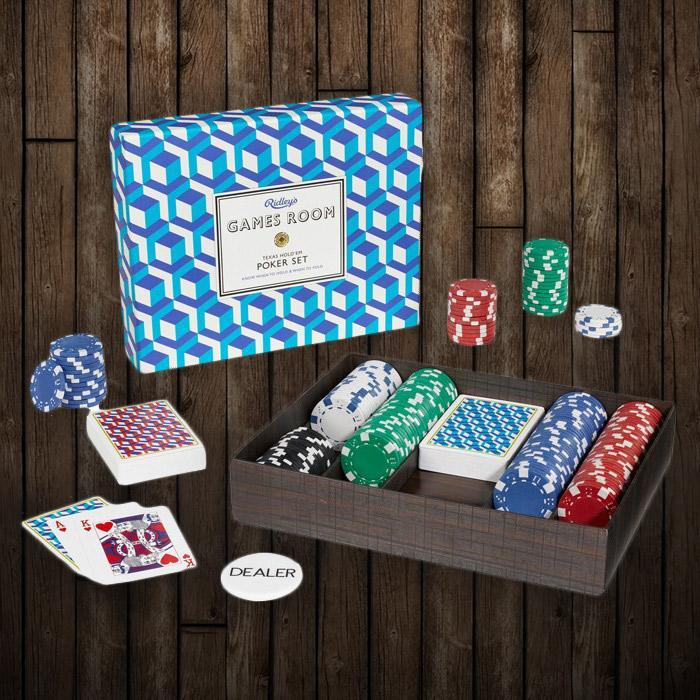 Ridley's Premium Texas Hold'em Poker Set - Blue - Ridley's - Yellow Octopus
