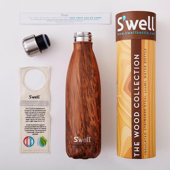 S'well Insulated Stainless Steel Bottle - 500ml Hand-Painted Teakwood - S'well - Yellow Octopus