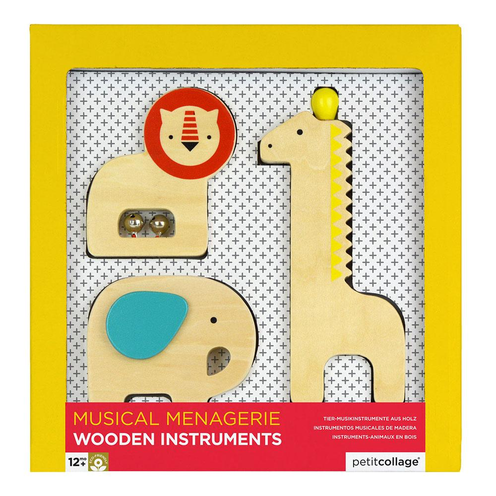 Musical Menagerie Kids Wooden Animal Instruments - - Petit Collage - Yellow Octopus