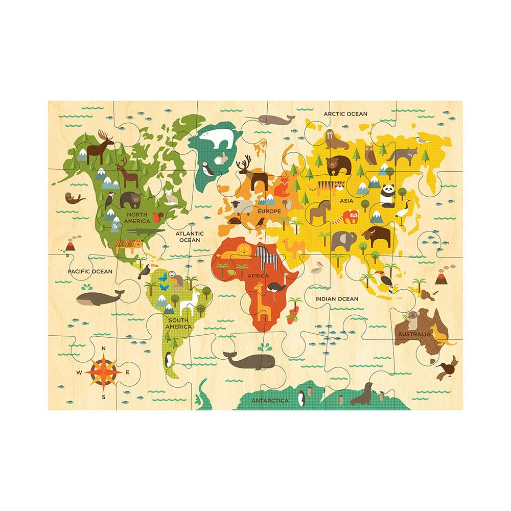 Our World Kids World Map Floor Puzzle 41 x 61cm - - Petit Collage - Yellow Octopus