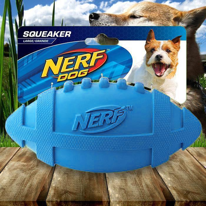 Nerf Dog Large Rubber Squeaker Football - - Nerf - Yellow Octopus