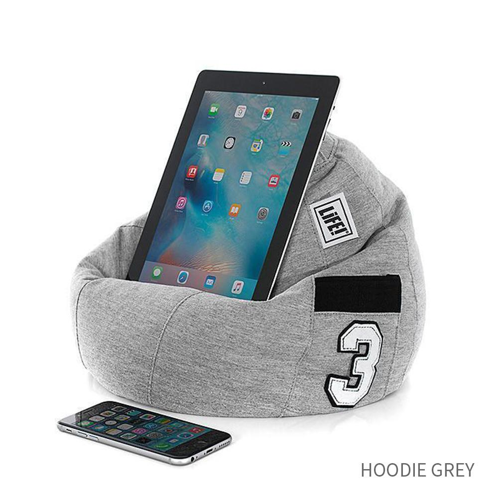 iCrib Tablet Bean Bag Pillow - Hoodie Grey - SlumberTrek - Yellow Octopus