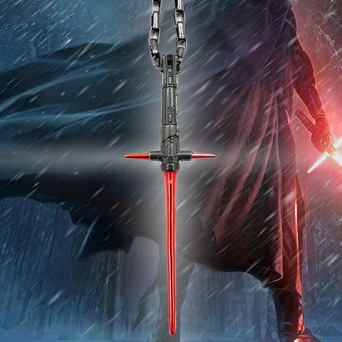 Star Wars Kylo Ren Lightsaber Stainless Steel Necklace - - Star Wars - Yellow Octopus