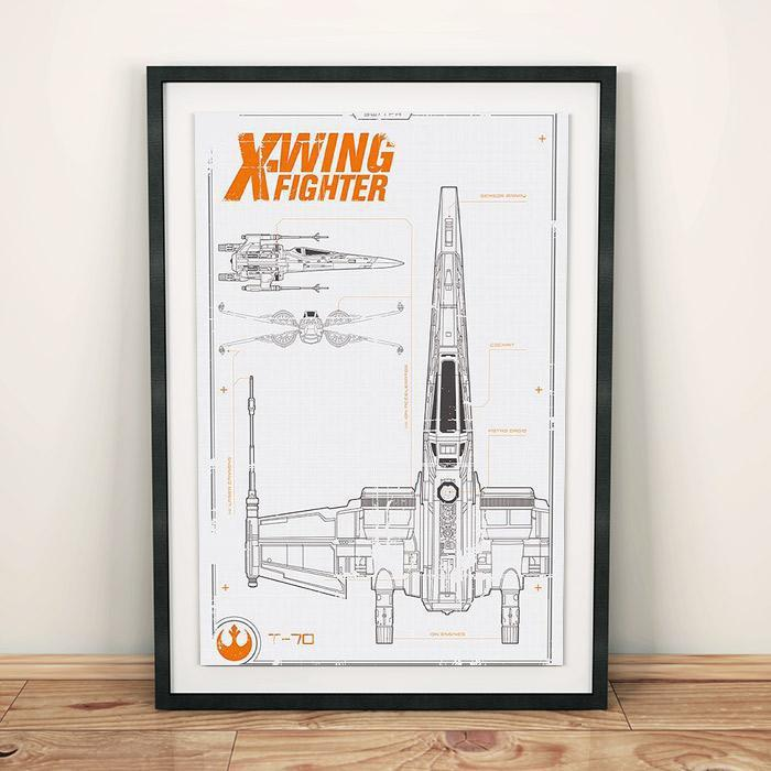 Star Wars Star Wars T-70 X-Wing Fighter Blueprint Poster 91.5 x 61cm