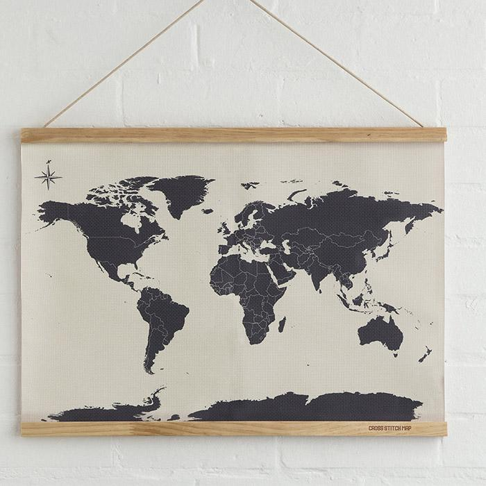 Cross Stitch Map: Stitch Your Travels Around The World! - - SUCK UK - Yellow Octopus