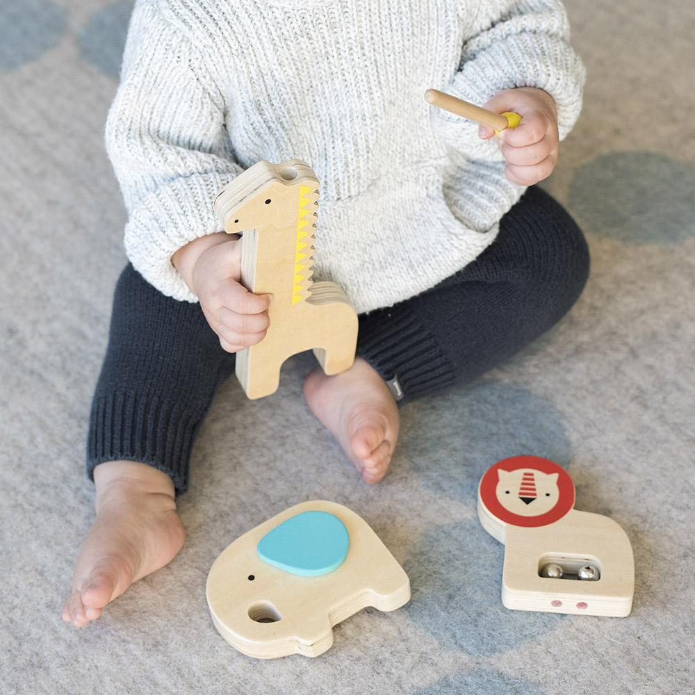 Musical Menagerie Kids Wooden Animal Instruments