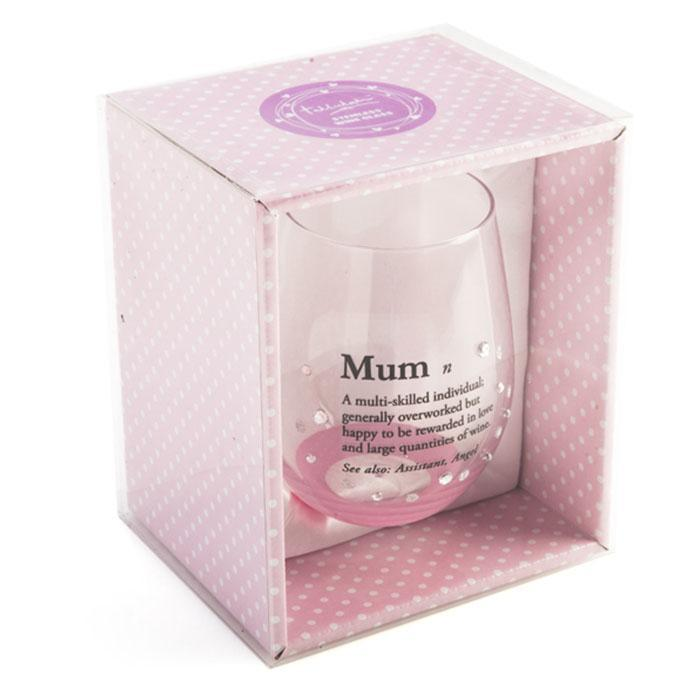 Tallulah Definition of Mum Embellished Stemless Wine Glass