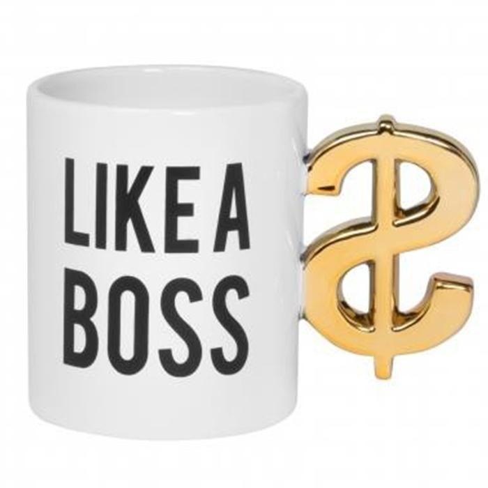 ThumbsUp! Like A Boss Dollar Sign Handle Mug