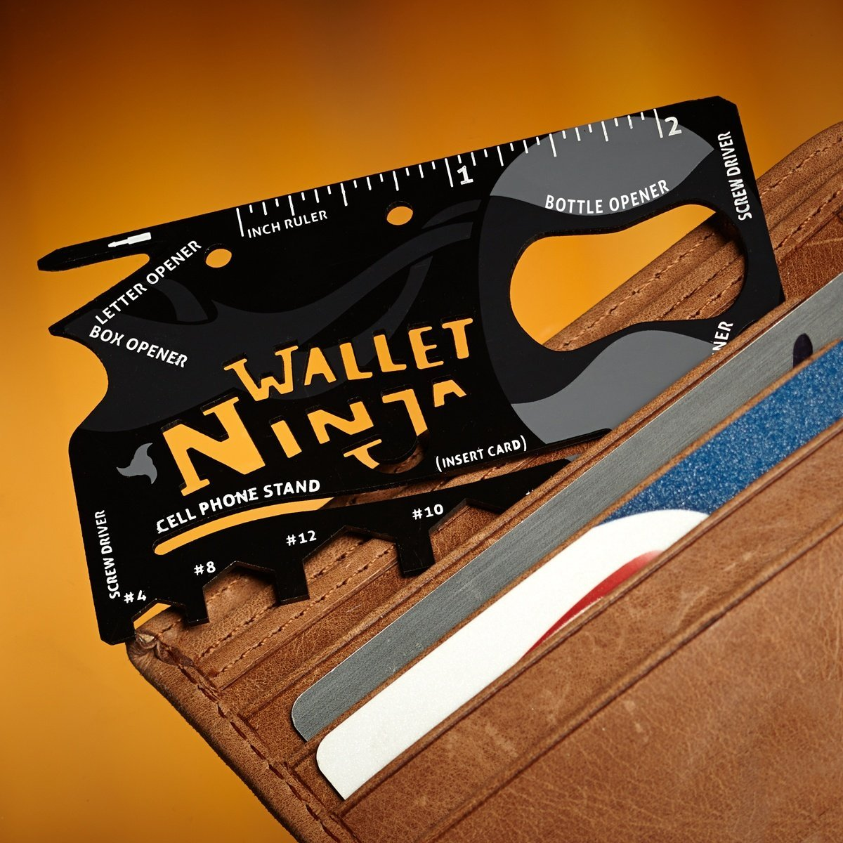 Wallet Ninja 18-in-1 Multi-tool Card - - ThumbsUp! - Yellow Octopus