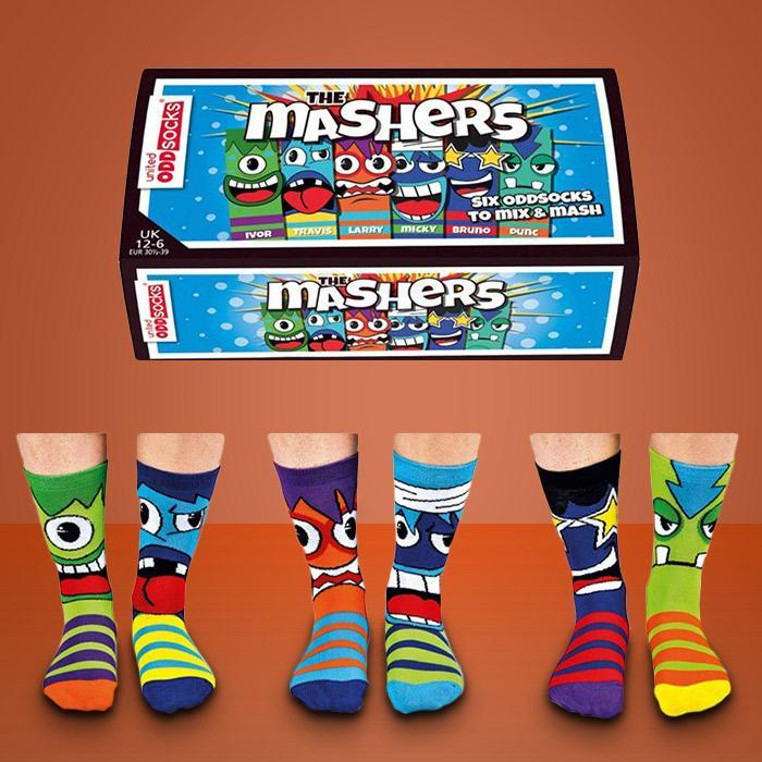 The Mashers Crazy Odd Socks For Kids - 3 Pairs - - United Odd Socks - Yellow Octopus