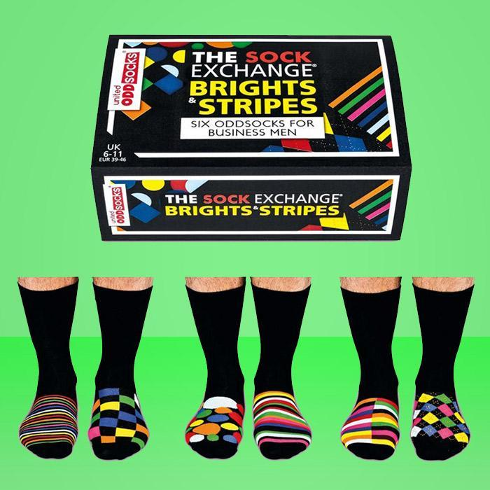 Sock Exchange Multi-Coloured Odd Socks For Businessmen - 3 Pairs - - United Odd Socks - Yellow Octopus