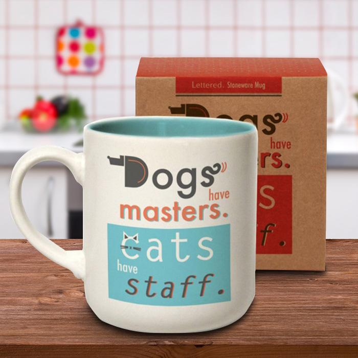 Dogs Have Masters; Cats Have Staff Mug - - Urban Graphic - Yellow Octopus