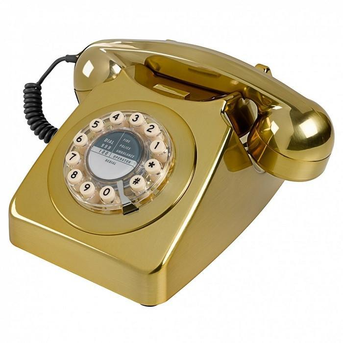 1960s Retro Style Desk Telephone Series 746 | Wild & Wolf - Gold - Wild & Wolf - Yellow Octopus