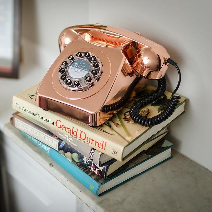 1960s Retro Style Desk Telephone Series 746 | Wild & Wolf - Red - Wild & Wolf - Yellow Octopus