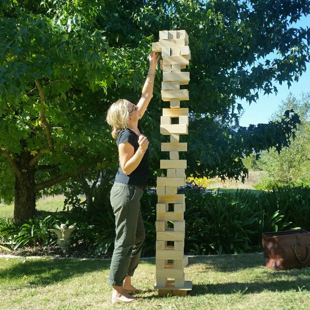Giant Wooden Stacking Tower Blocks Outdoor Game - Deluxe 127cm - Jenjo - Yellow Octopus