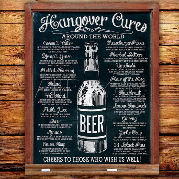 Yellow Octopus Hangover Cures Around The Globe Tin Sign