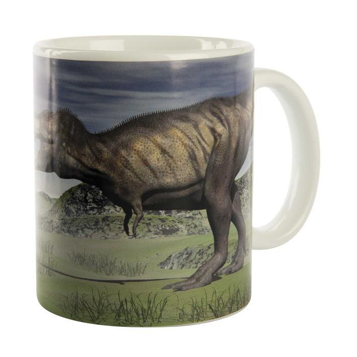 Yellow Octopus Heat Changing Disappearing T-Rex Dinosaur Mug