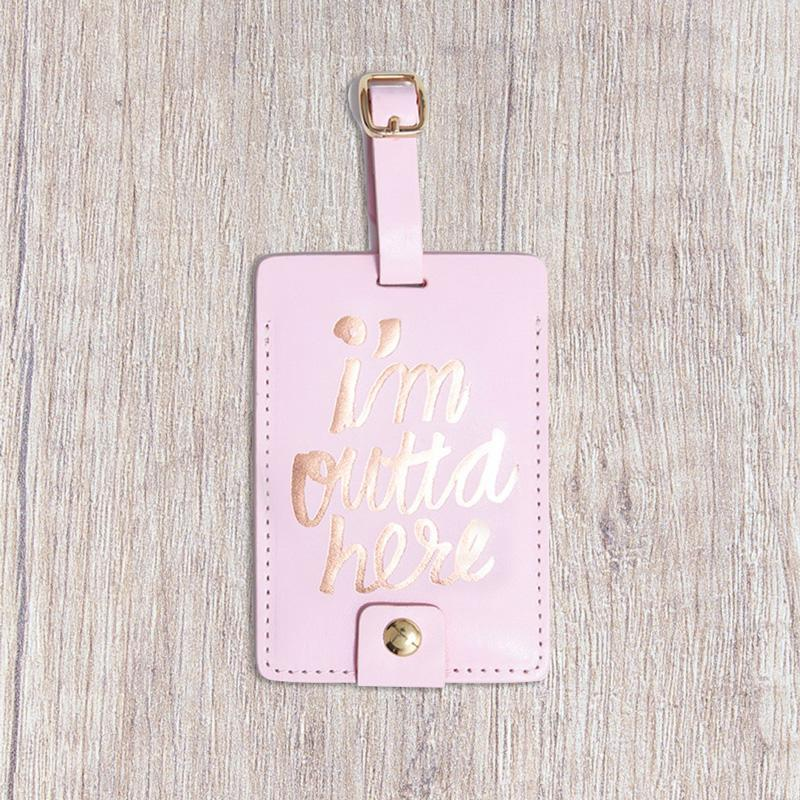 I'm Outta Here Rose Gold Luggage Tag - - Bando - Yellow Octopus