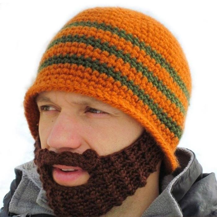 Knitted Beard Beanie - Blue/Green - Yellow Octopus - Yellow Octopus