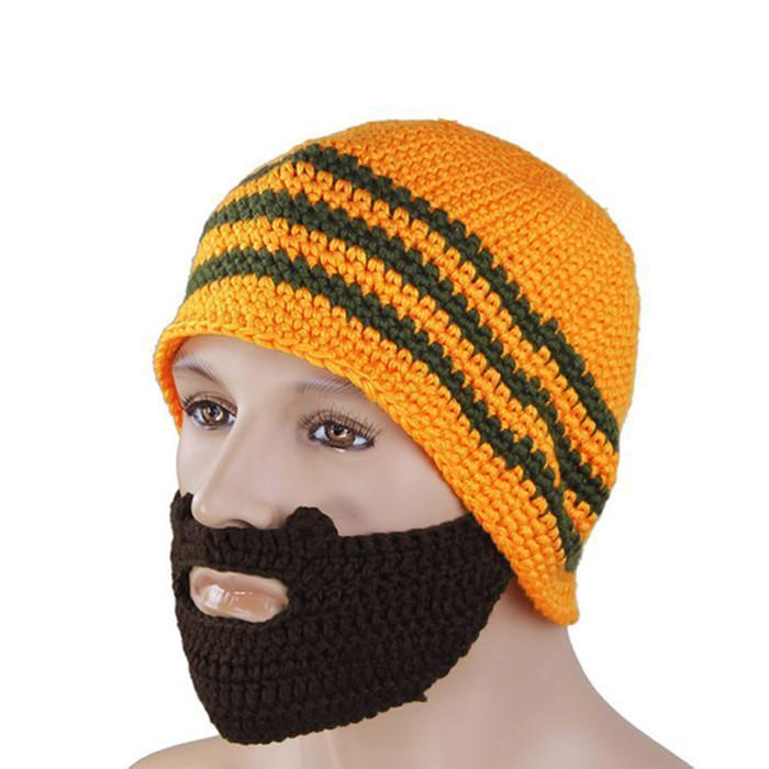 Knitted Beard Beanie - Orange - Yellow Octopus - Yellow Octopus