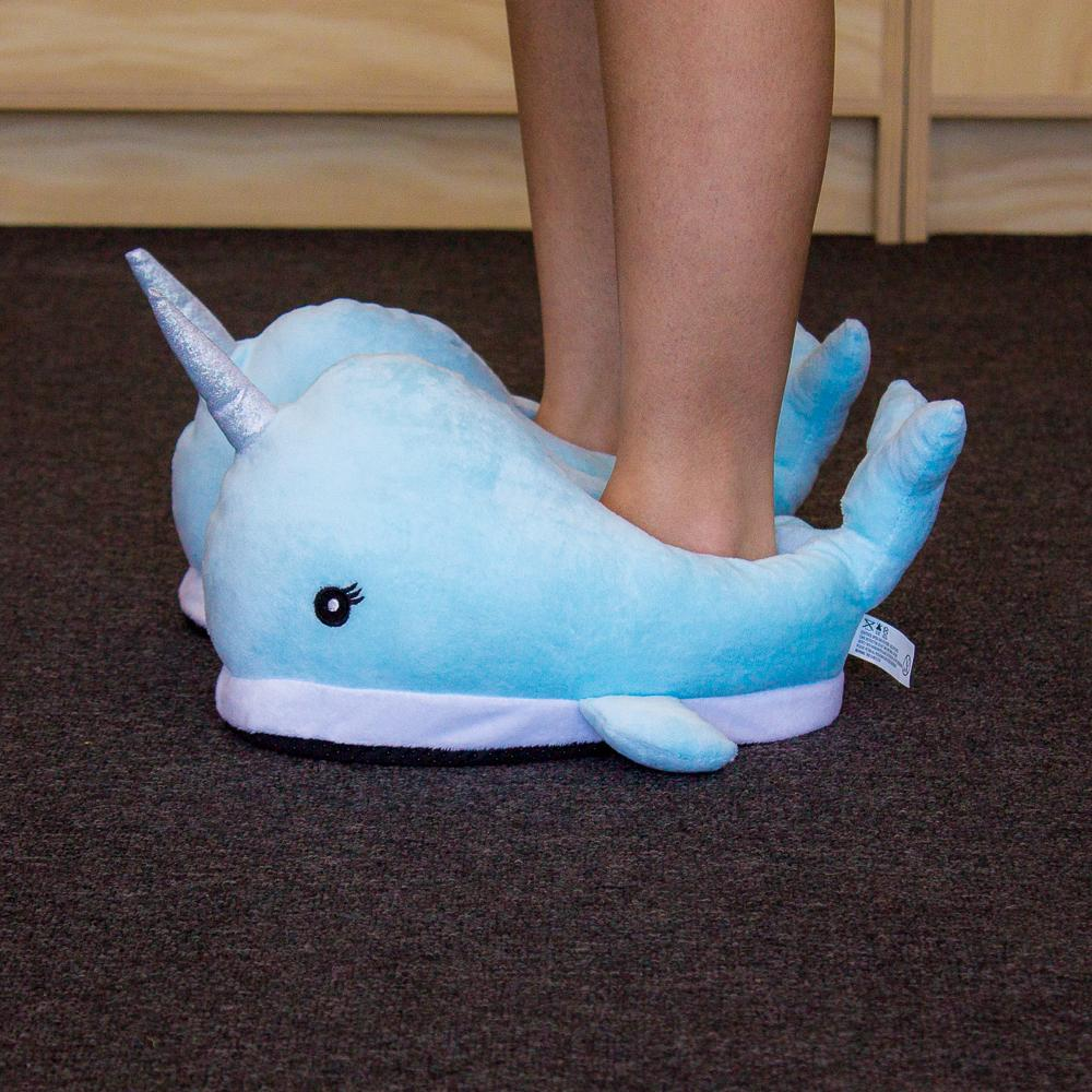 Plush Glittery Narwhal Slippers - - MDI - Yellow Octopus