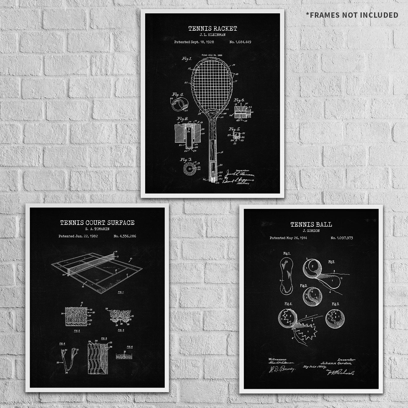 Tennis Patent Prints Wall Art | Set of 3