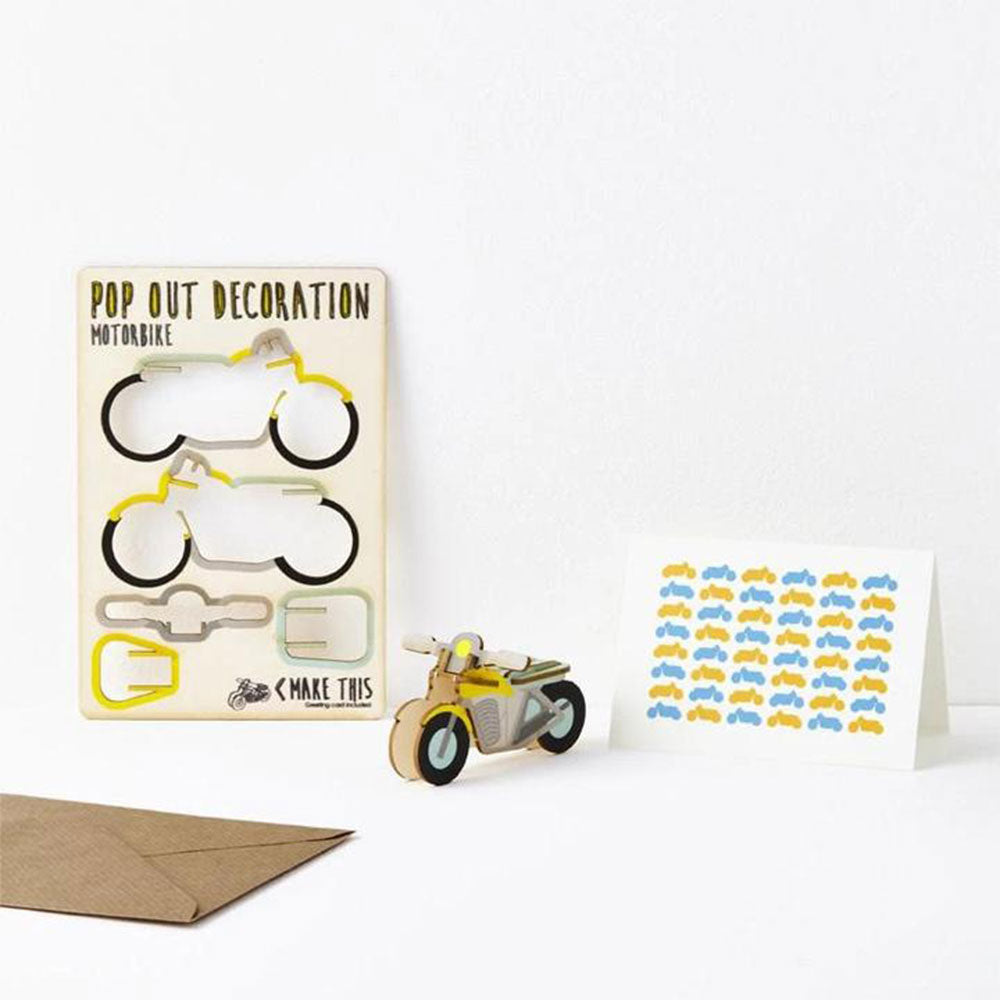 Pop Out Decoration Greeting Card - Motorcycle