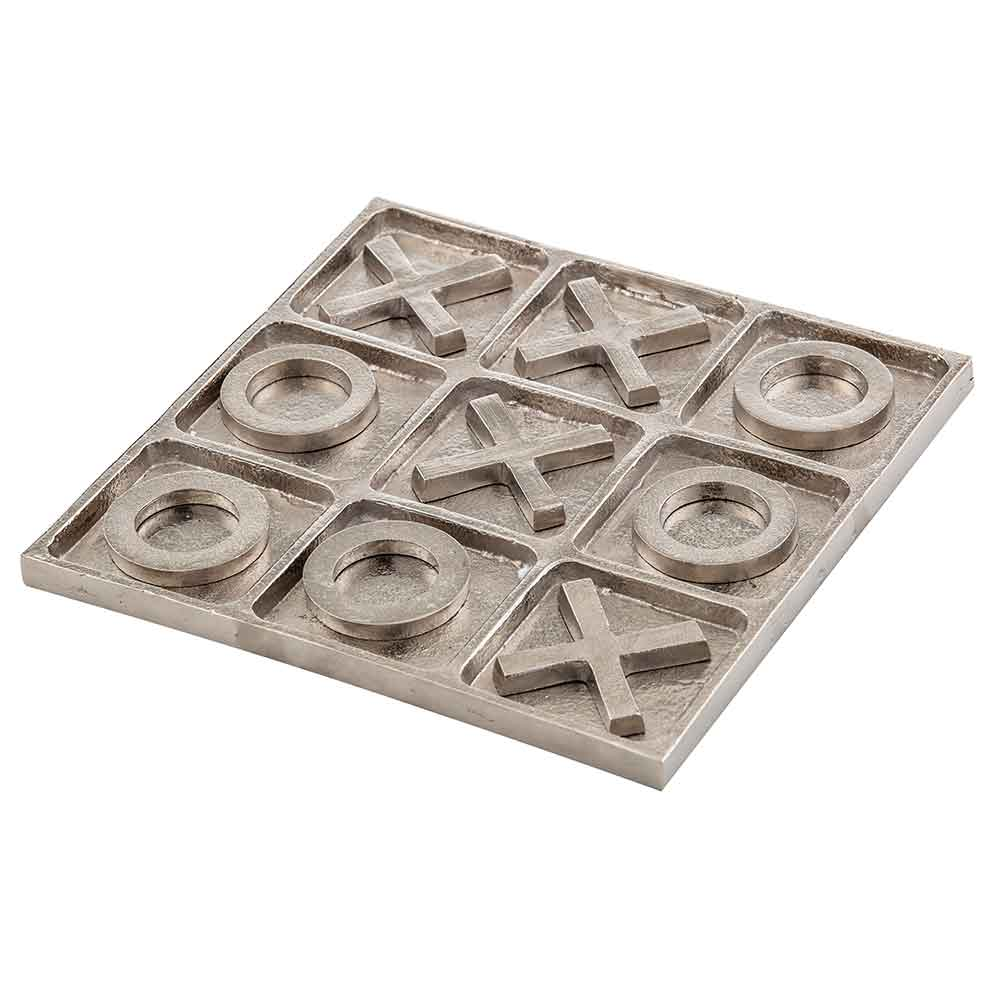 Silver Metal Noughts & Crosses Game