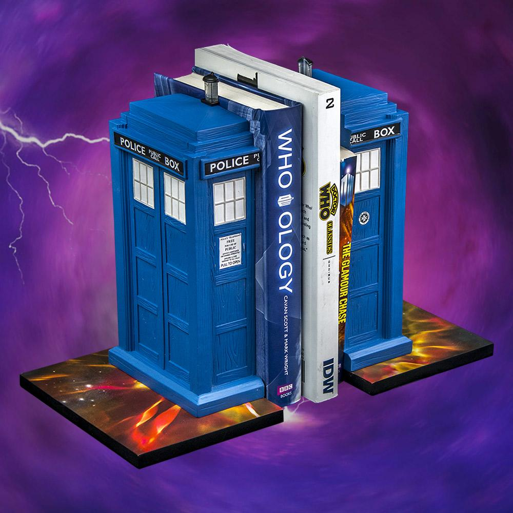 set of 2 doctor who tardis bookends official bbc collectable