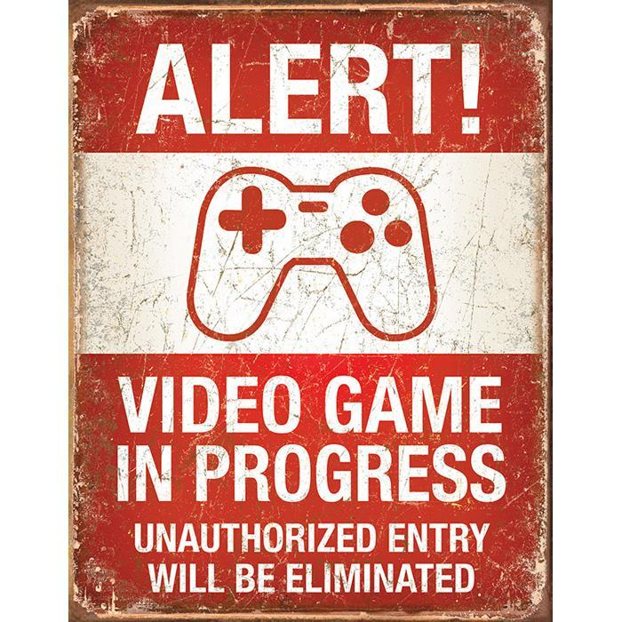 Video Game In Progress Retro Tin Sign - - Yellow Octopus - Yellow Octopus