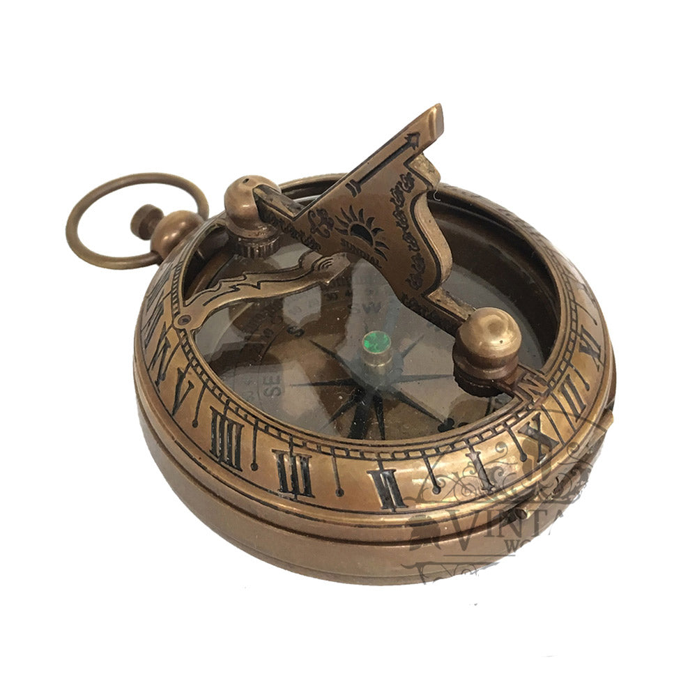 Nautical Brass Sundial Compass with Push Button | 2 Styles