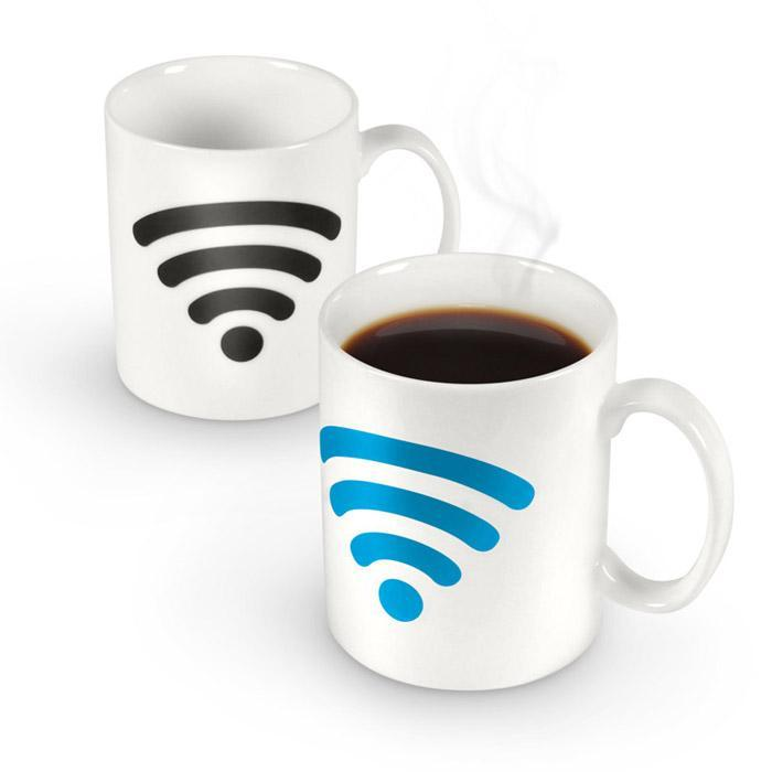Yellow Octopus Wi-Fi Logo - Heat Changing Mug