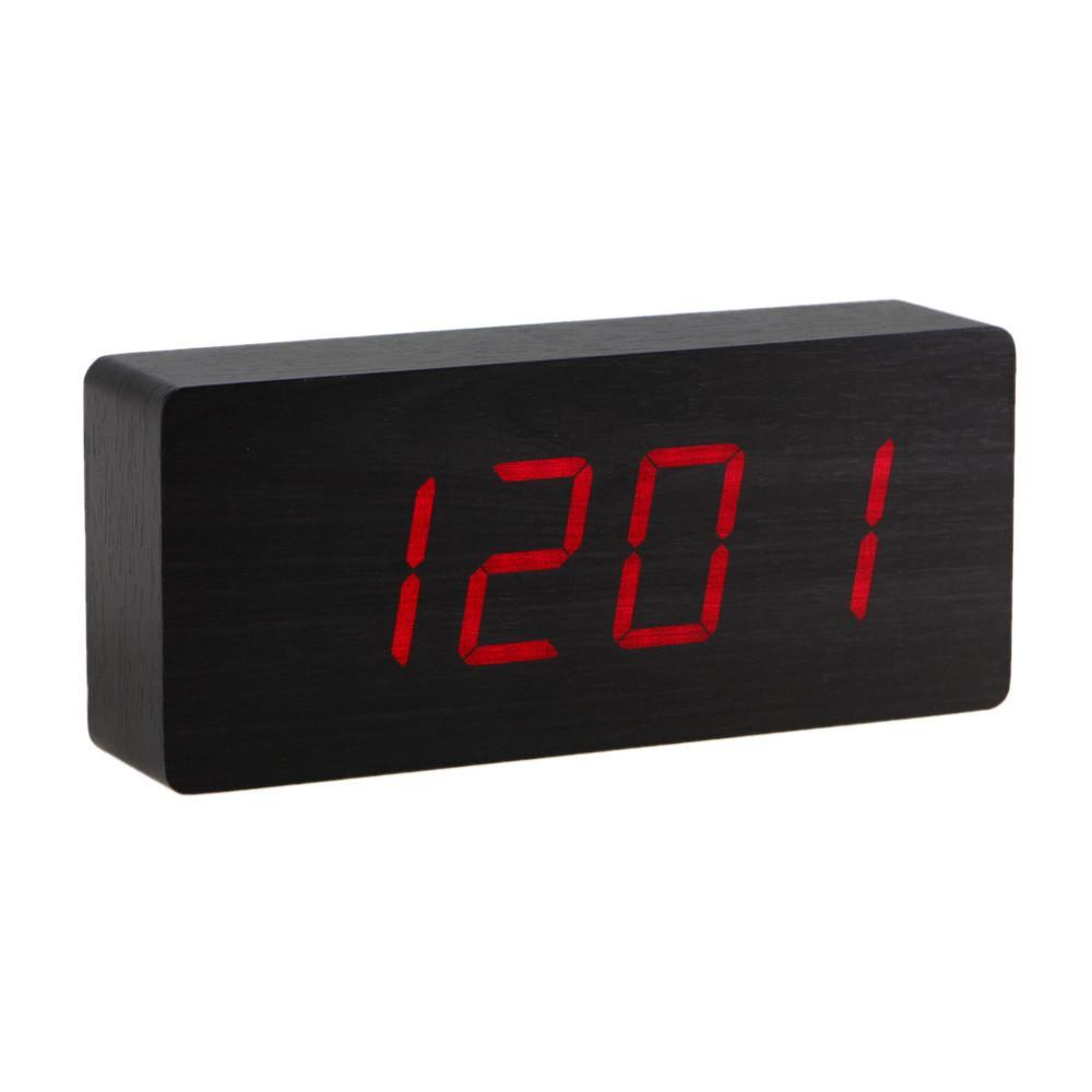 Yellow Octopus Wooden LED Alarm Clock Red