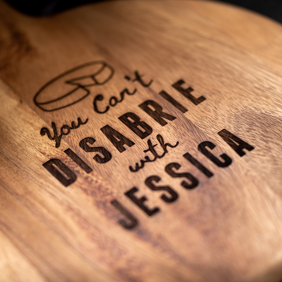 Personalised Round Paddle Serving Board - Funny Brie Quote