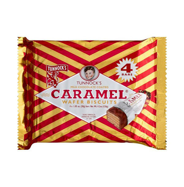 Tunnock's Wafer Biscuits, Caramel, Milk Chocolate Coated