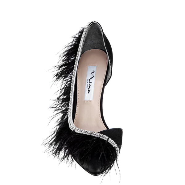 DELCIE-BLACK-LUSTER SATIN/FEATHERS