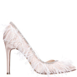 DELCIE-PEARL ROSE-CRYSTAL SATIN/FEATHER