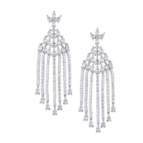 ABILENE CHANDELIER EARRING-RHODIUM