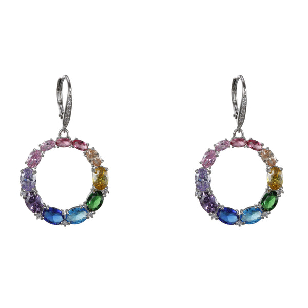 AMBROSIA EARRINGS-RHODIUM/RAINBOW