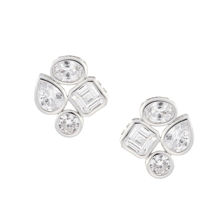 DAYNA CLIP EARRINGS-RHODIUM