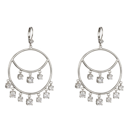 HARPAR DROP EARRING-RHODIUM/WHITE