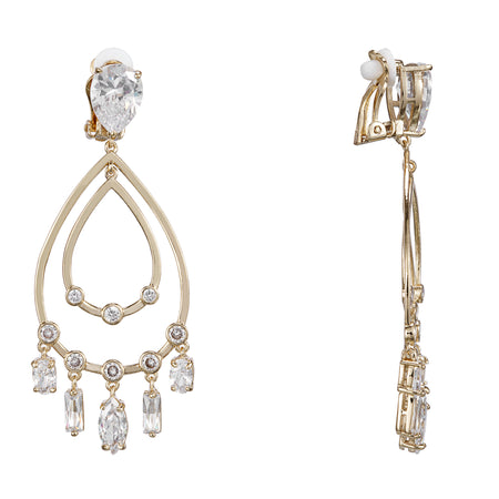 KASMIRA CLIP EARRING-GOLD/CLEAR